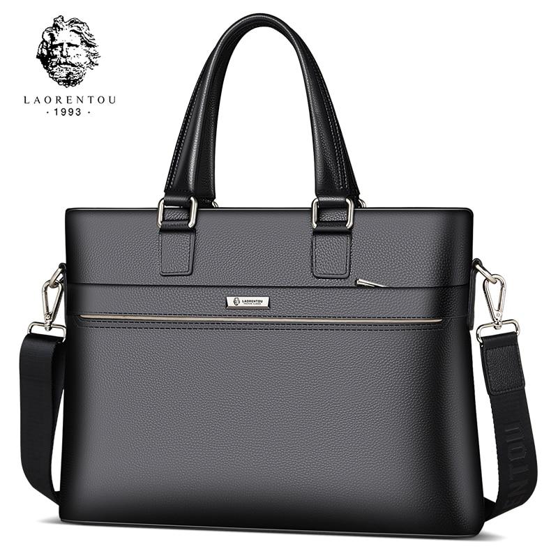 LAORENTOU Men Briefcase Cow Leather Crossbody Bags Man Totes Shoulder Bag Work Handbag Handle Bags High Capacity Business Bags