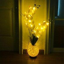 Decoración LED flor artificial de orquídea para dormitorio sala de estar boda Navidad Año Nuevo USB Phalaenopsis arreglo bonsái