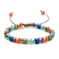 zmzy sparking mixed glass crystal bracelet rainbow style fashion shinning charm bracelets for women wedding jewelry gift