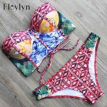 Floylyn Sexy Style Corse à armatures laçage dos Push Up haut de bikini femmes Bandage brésilien maillot de bain maillot de bain