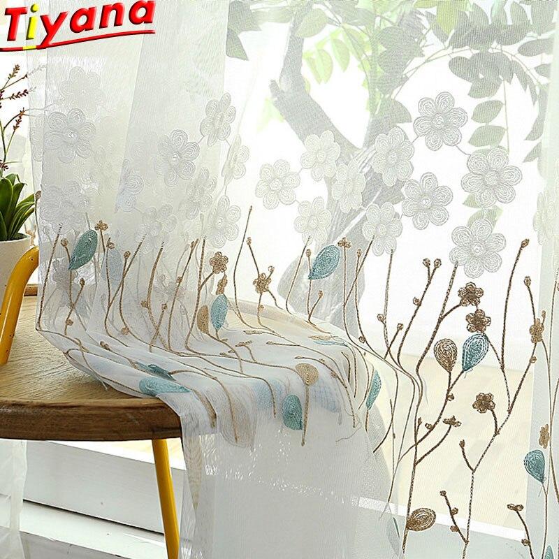 Moderno bordado cortinas flores para sala de estar cortinas janela tule bordado puro voile X-M044 #30