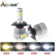 LED 4300K S2 H4 H7 H1 COB LED 전조등 전구 H11 H13 12V 9005 9006 H3 9004 9007 9012 72W 8000LM 자동차 LED 램프 3000K 8000K 6500K