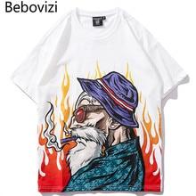 Bebovizi 2019 letnia biała koszulka męska Hip Hop koszulki japoński stylu Harajuku Anime, Streetwear Tshirt z krótkim rękawem topy i koszulki