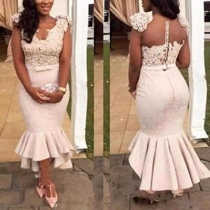 Plus Size Evening Dresses Mermaid Vestido De Festa Lace Evening Dress Beaded 2019 robe de soiree African Formal Gown Party Dress