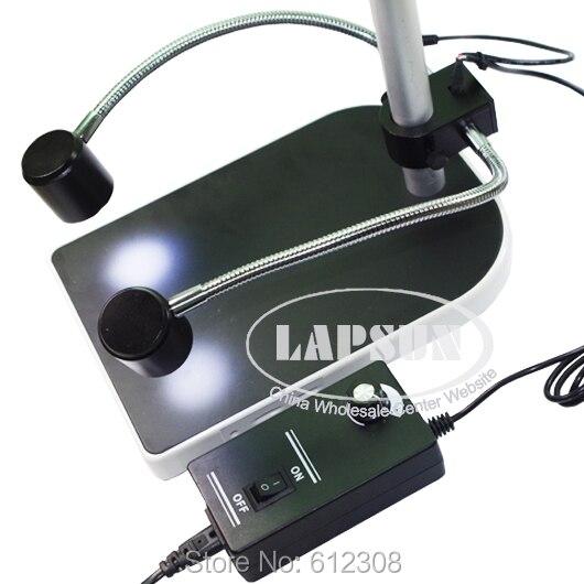 Luces de cuello de cisne Dual 2x9 bombilla LED doble lámpara iluminadora de cuello de ganso para el microscopio ESTÉREO DE LA INDUSTRIA lupa de la cámara Digital