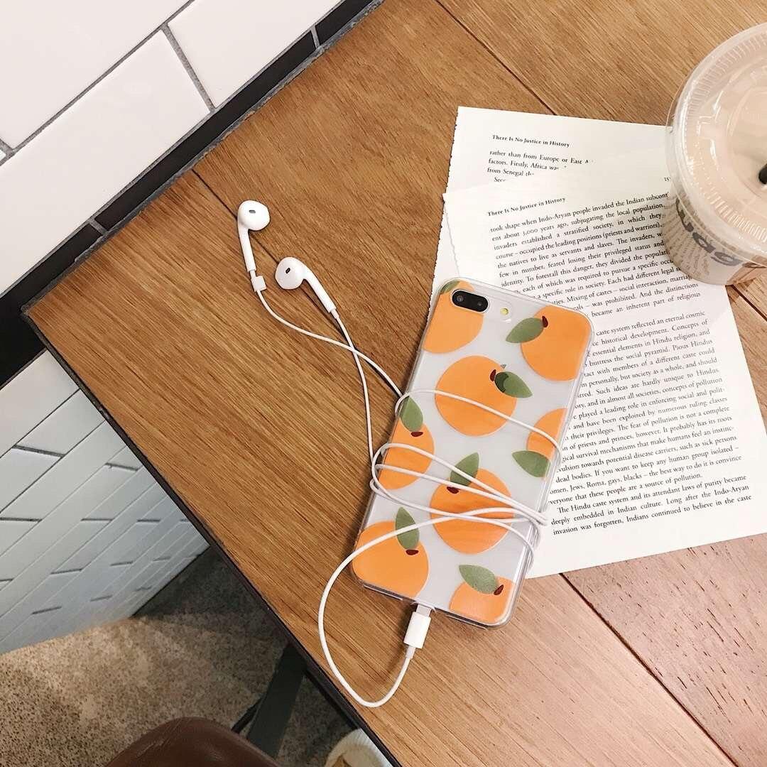INS Corea lindo frutas orange caja del teléfono para iPhone 7 6 6s Plus X XR Xs Max Color caramelo transparente funda trasera suave TPU