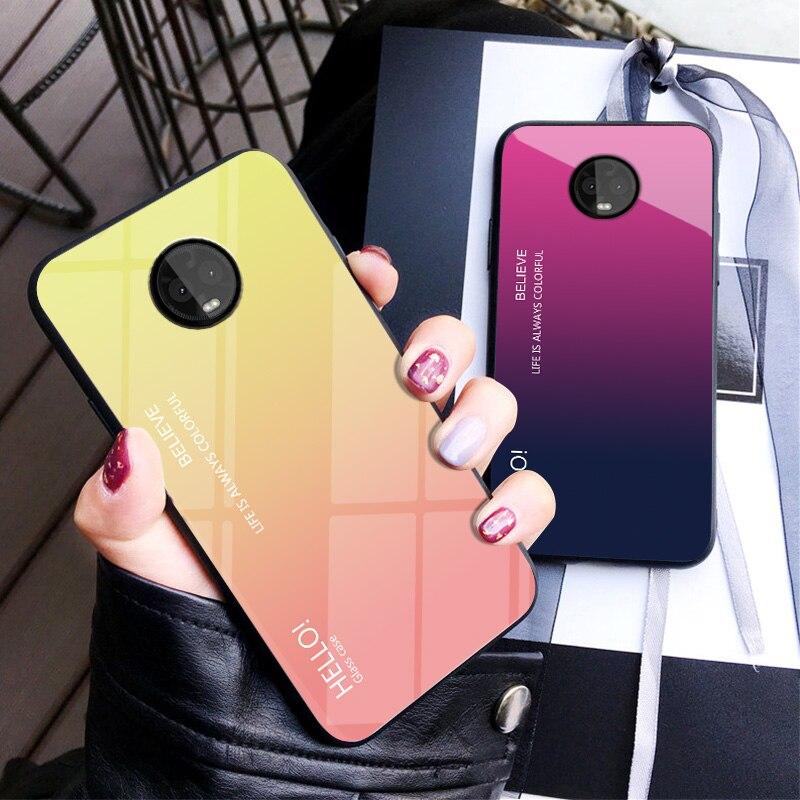 Carcasa de armadura de cristal templado gradiente de lujo para Motorola G6 Plus G6Plus, carcasa trasera de silicona para Moto G5S Plus G5sPlus