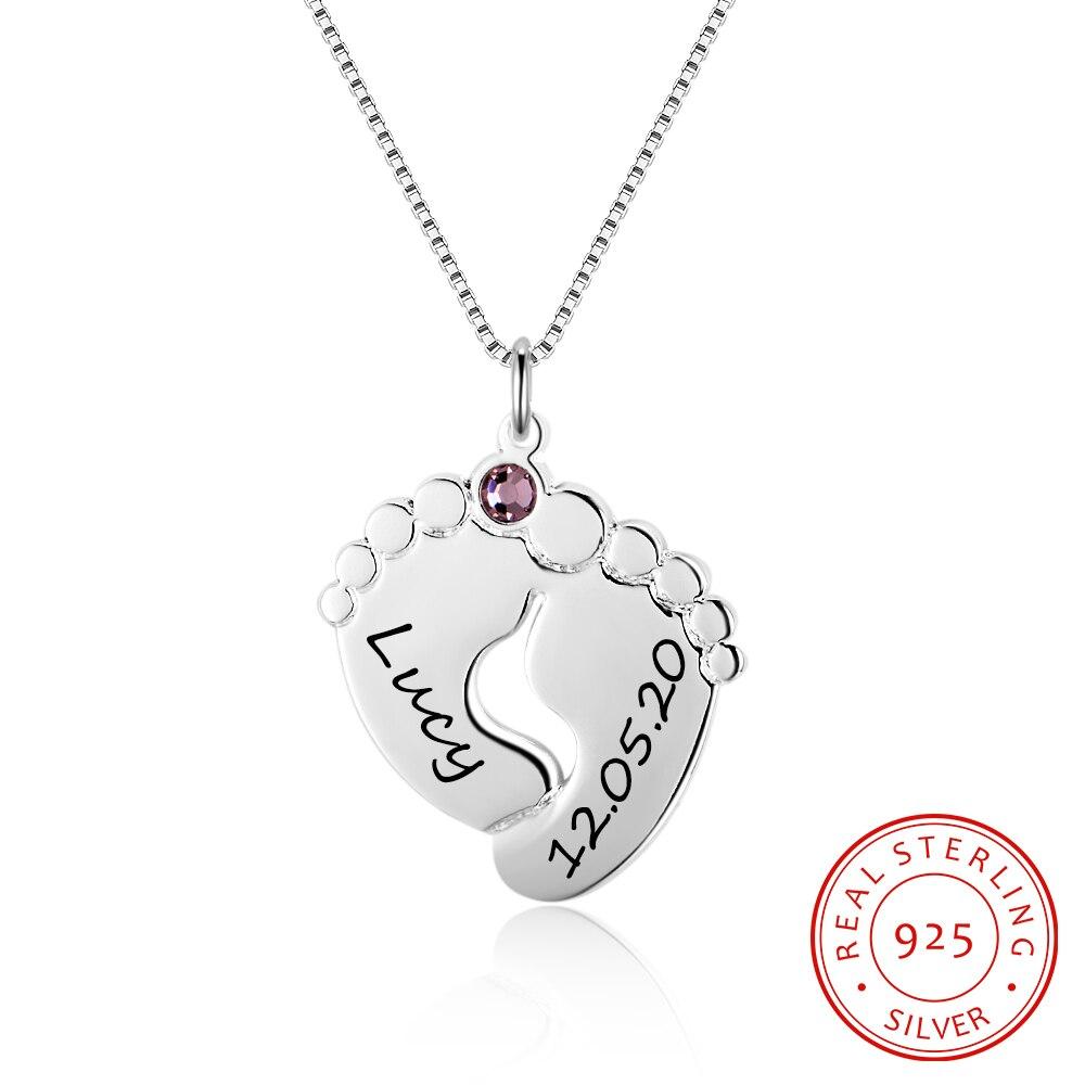 Милое ожерелье для детской ноги из стерлингового серебра 925 пробы, ювелирное изделие на годовщину, прекрасный кулон, сделай сам, камень на день рождения, индивидуальный уникальный подарок для матери