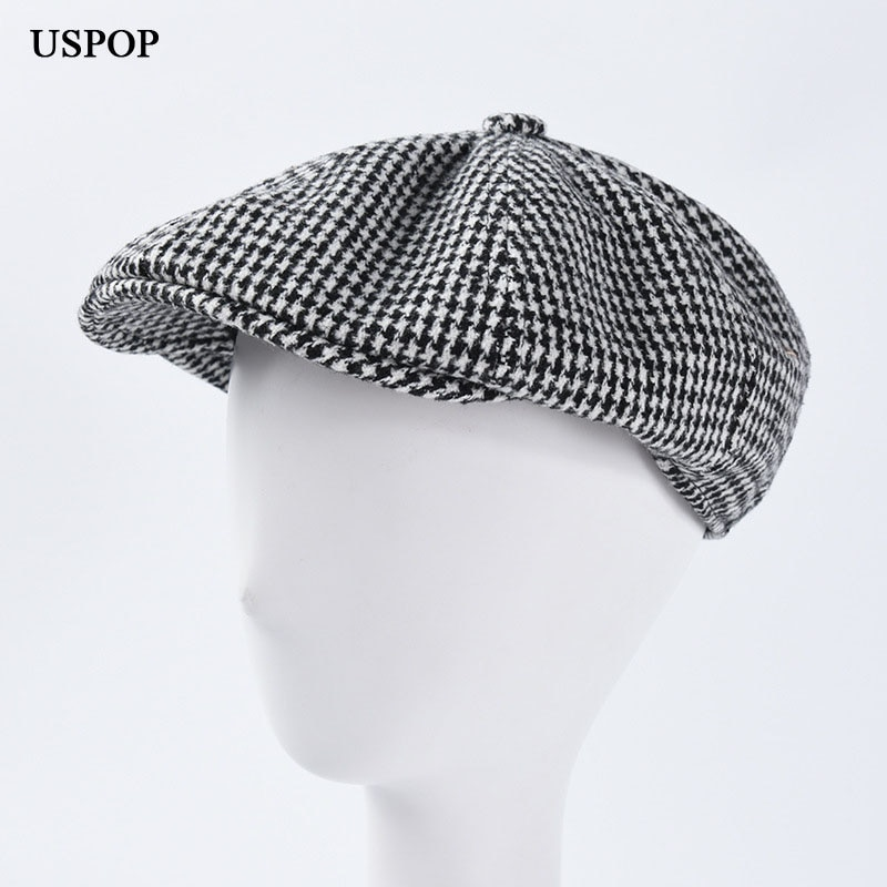 USPOP 201New winter caps men berets newsboy caps classic plaid visor caps