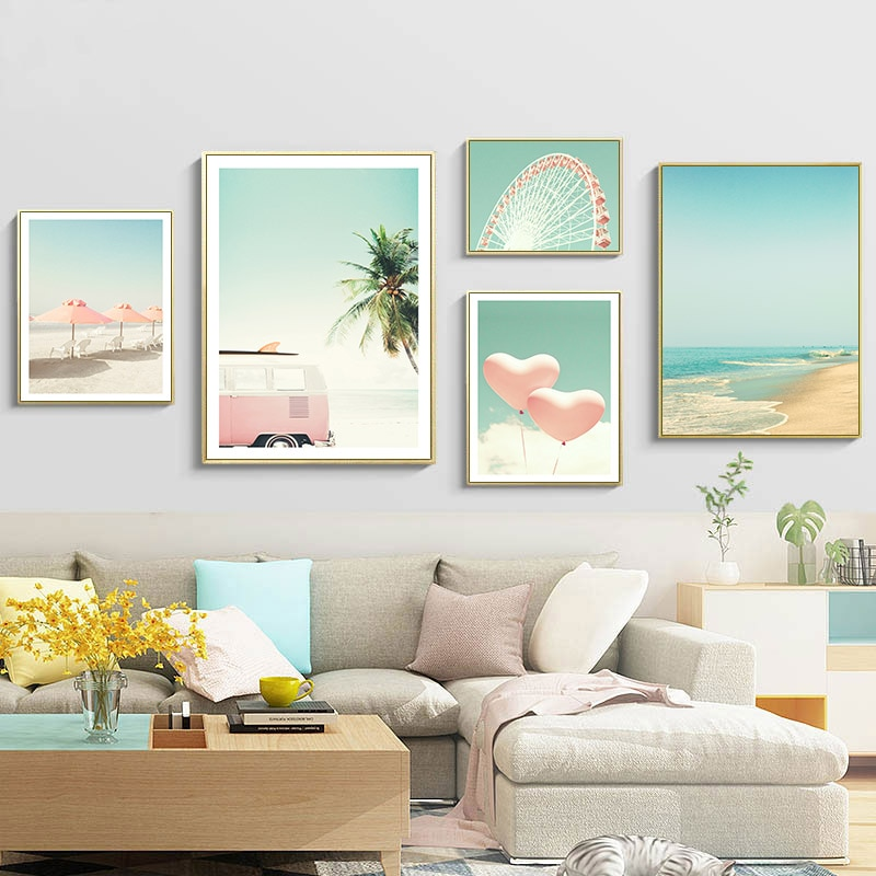 Rosada Bus cielo mar Playa Coco noria carteles nórdicos e impresiones lienzo arte pintura cuadros de pared para decoración para sala de estar