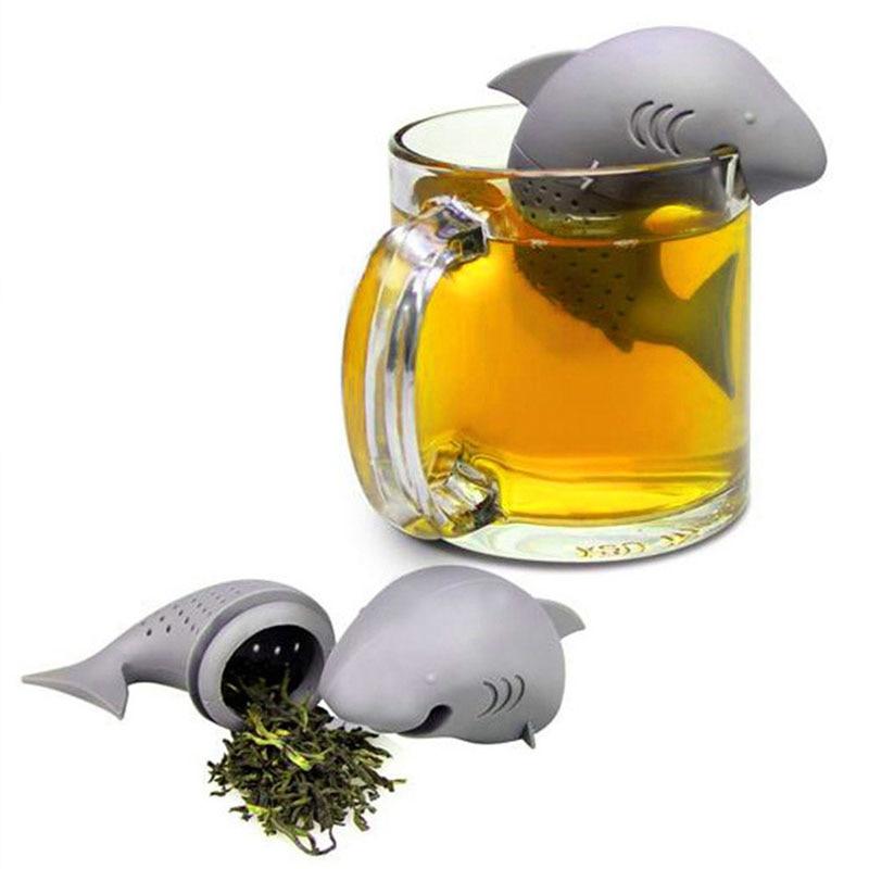1 шт. силиконовые фильтры для заварки чая в виде акулы, инструменты, ситечко для чая, фильтр для заварки, пустой мешок, листовой диффузор