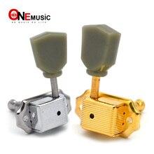 Gauche et droite main Vintage guitare Deluxe verrouillage chaîne Tuning chevilles Machine têtes verdâtre bouton Chrome doré