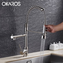 OKAROS robinet de Chef de cuisine extractible   Double pulvérisateur en laiton chromé pivotant, robinet dévier mélangeur à poignée unique, robinet dévier Kithen