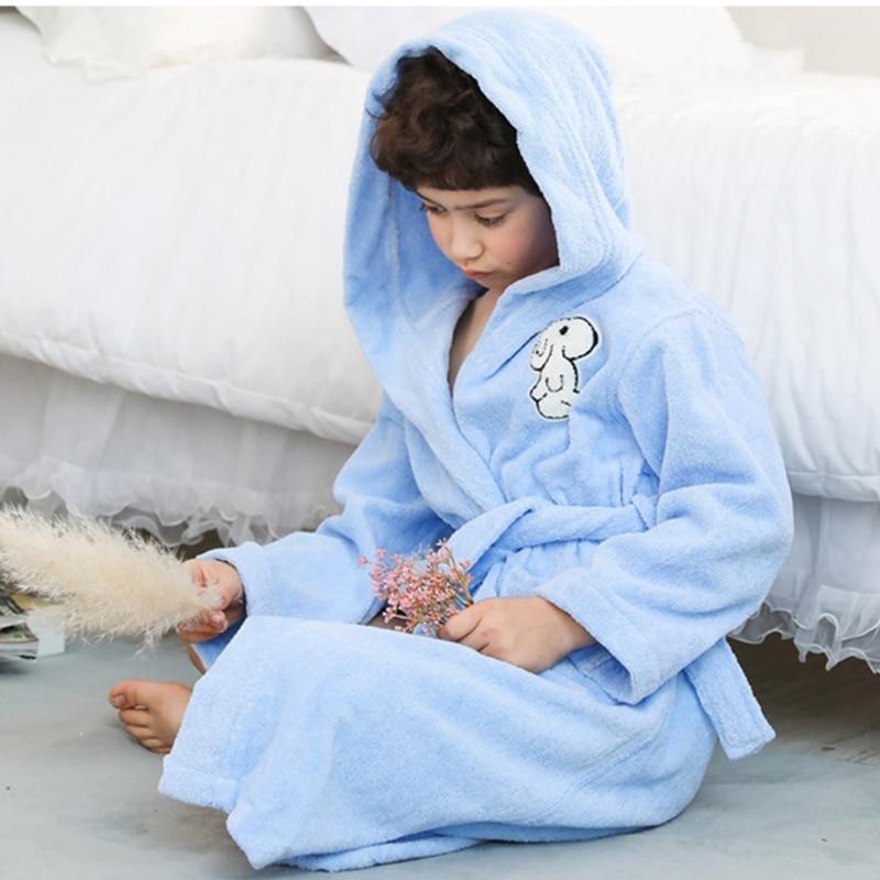 Winter Children Bath Robe Kids Cartoon Cotton Dressing Grows Boys Hooded Robes Sleepwear Thick Teenage Bathrobe Autumn