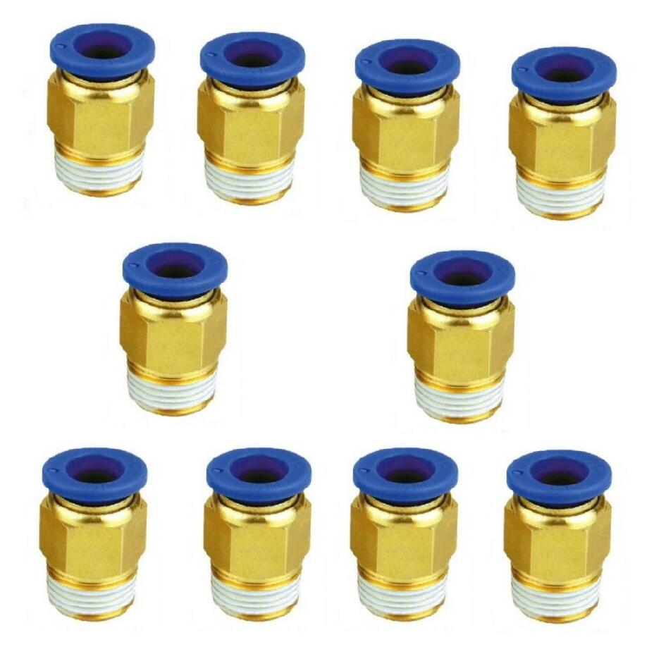 10 Uds neumático hombre racor recto presión conector rápido PC6-01 PC6-02 PC6-03 PC8-01 PC8-02 PC10-01 PC10-02 PC10-03 PC12-02