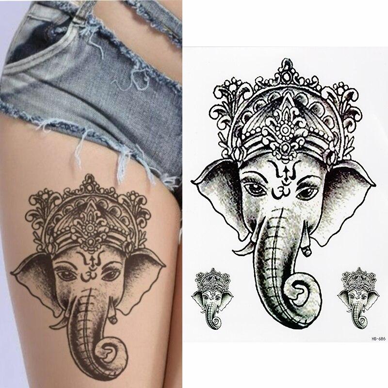 Tatuaje temporal realista-elefante GANESHA-mujeres, niñas, tatuaje falso para niños