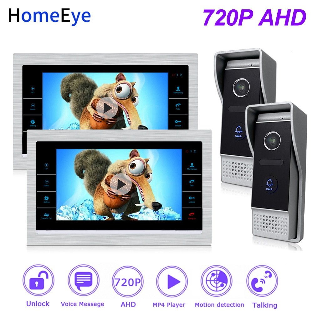 HomeEye 720P 7 AHD Video Door Phone Intercom 2-Doors Home Access Control System Motion Detection Bell Movie Player