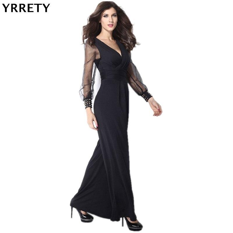 Yrrety moda feminina sexy macacões clubwear bodysuit preto embelezado punhos manga longa malha macacão venda quente roupas casuais