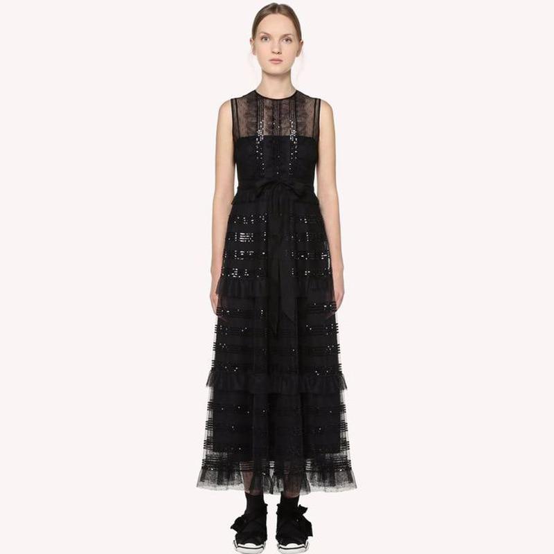 High quality hollow-out blacke mesh dress 2019 summer runways embroidered sequinslayered dress Women party dress A466