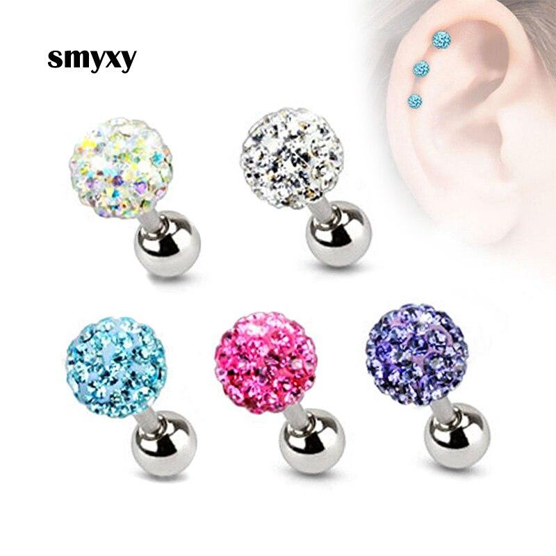 Las mujeres de acero inoxidable pendientes Punk bola de cristal T-tipo de tornillo pendientes lindo médico de acero de titanio Piercing joyería