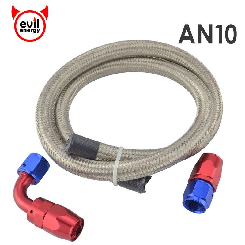 Kwaad energie AN10 Rvs Gevlochten Silver Racing Brandstof Slang 1 M + AN10 Rechte Slang End + EEN 10 90 graden Wartelfitting