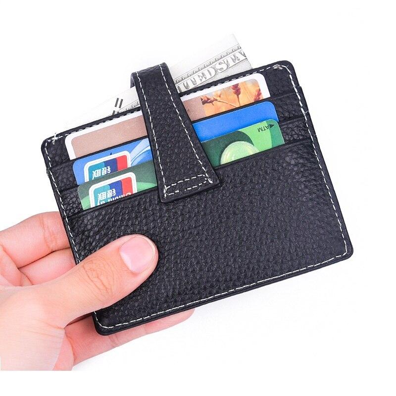2019 Hasp Portable Unisex titular de la tarjeta de crédito pequeño paquete bolso señoras Bus tarjeta delgada cuero genuino Prote Carte Wallet