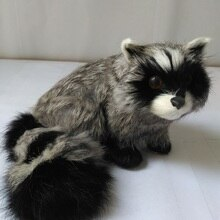 cute real life raccoon model plastic&furs simulation gray raccoon doll gift about 13x12cm xf1639