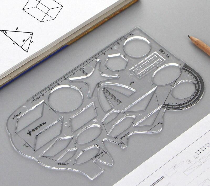Многофункциональный математический шаблон для учащихся средней школы, геометрический шаблон, линейка, функциональный Графический Шаблон