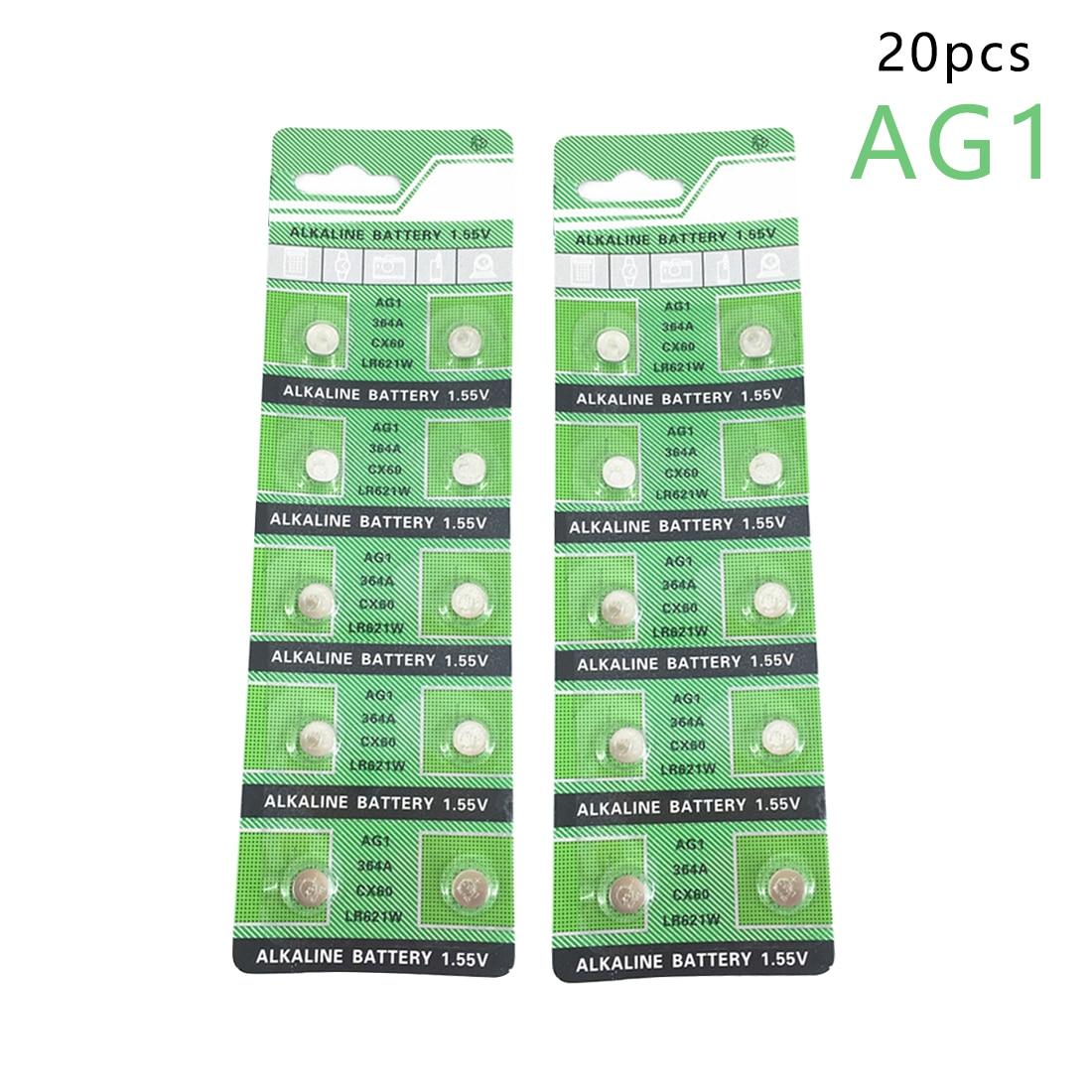 Centechia 20 Pcs Button Battery Ag1 364 Sr621 Sr60 Sr60L Alkaline Coin Cell Button Batteries For Wat