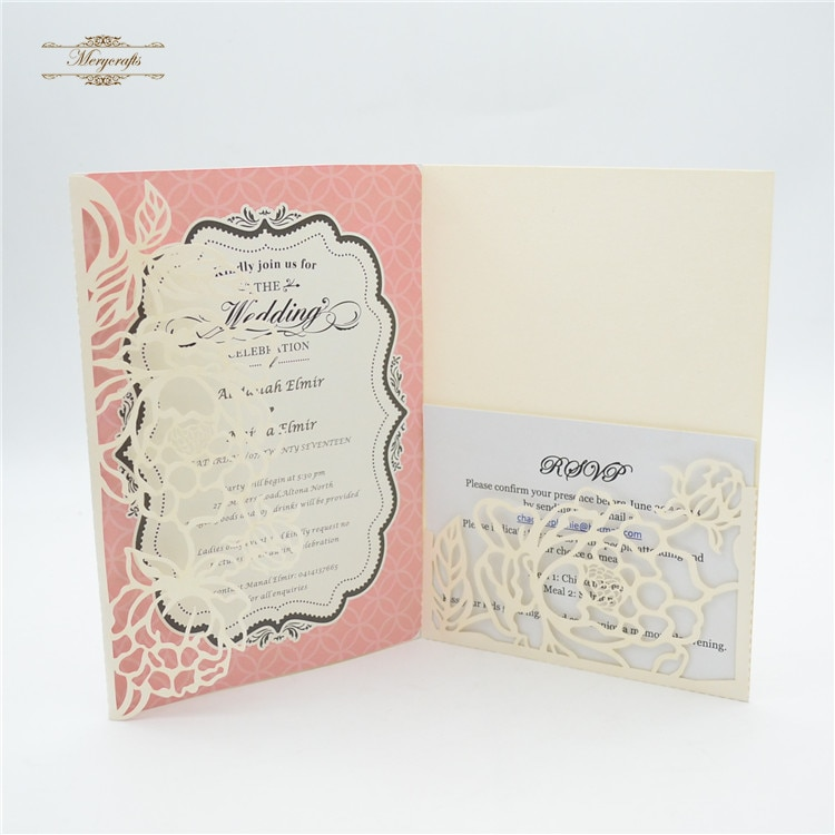 Красивая Роскошная трехслойная Свадебная карточка дизайн лазерная резка цветочные свадебные пригласительные карты карман