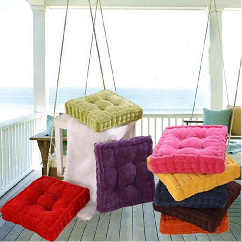 1pc Square Shape Plaid Thick Winter Warm Chair Pad Cushion Soft Washable Cotton Home Floor Decor  672720