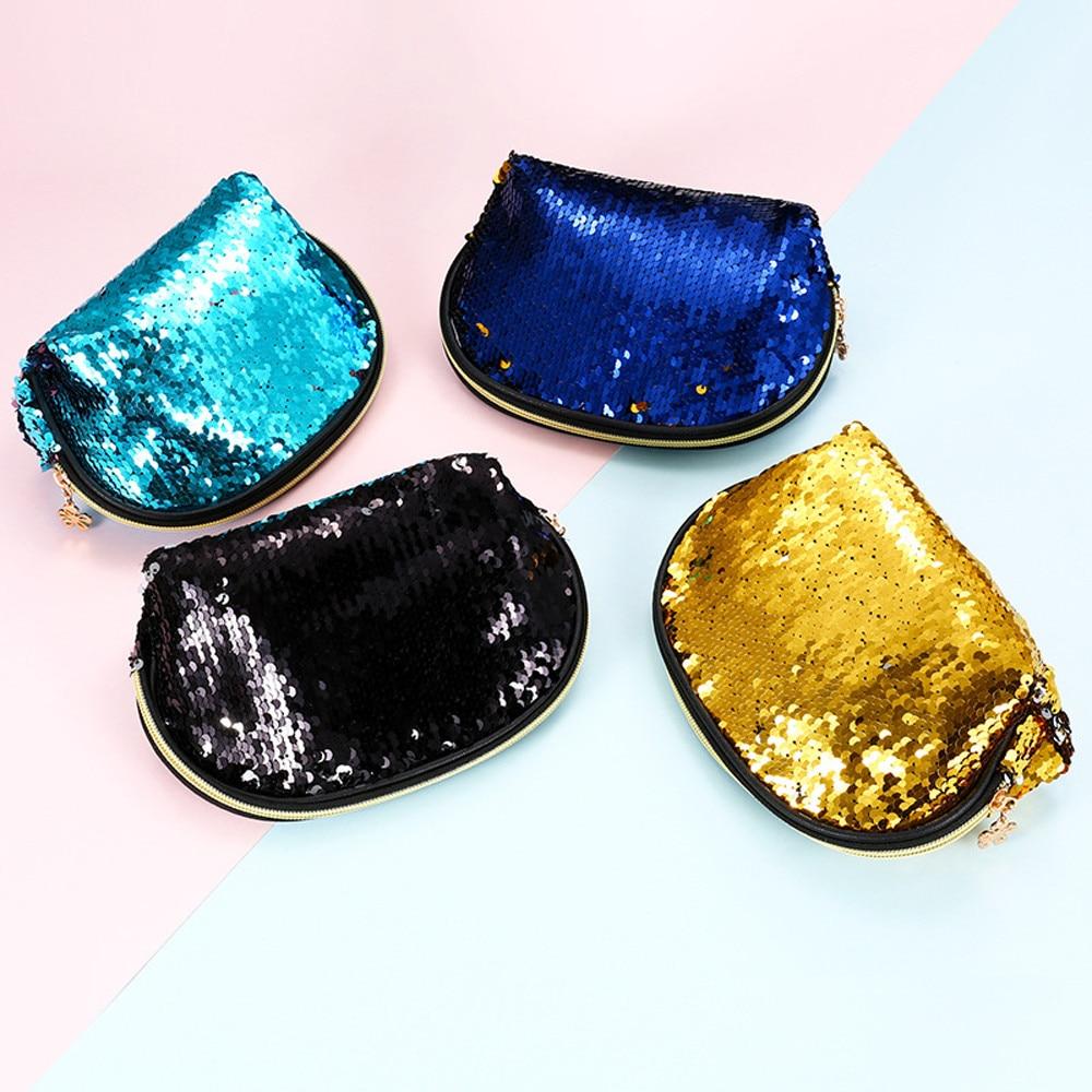 Bolsa de armazenamento feminina meninas moda dupla cor mac maquiagem lantejoulas saco de armazenamento cosméticos organizador bolsa de senhoras