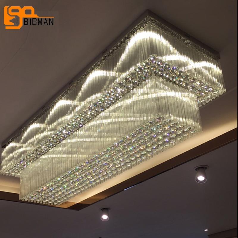 تصميم جديد 2 طبقات كريستال الثريا تركيبات السقف الحديثة استبدال LED مصباح lustres كريستال فندق اللوبي طويل الثريا
