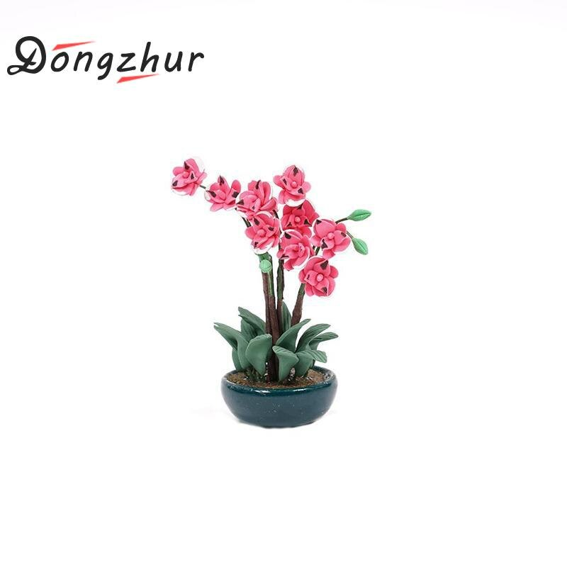 Dongzhur Garden Dollhouse Miniature Clay Orchid Flower Pot Plant 1:12 Doll House Miniatures Accessories Mini Red Rose Flowerpot