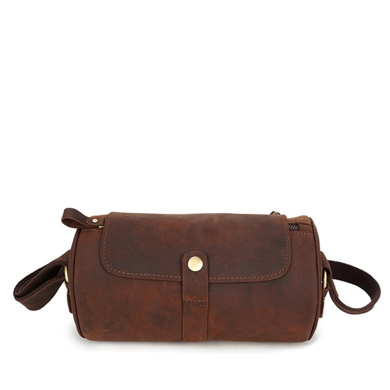 2019 Men's Genuine Leather Large Capacity Business Fitness Bucket Handbag Retro Style High Quality Fashion Travel Bucket Handbag