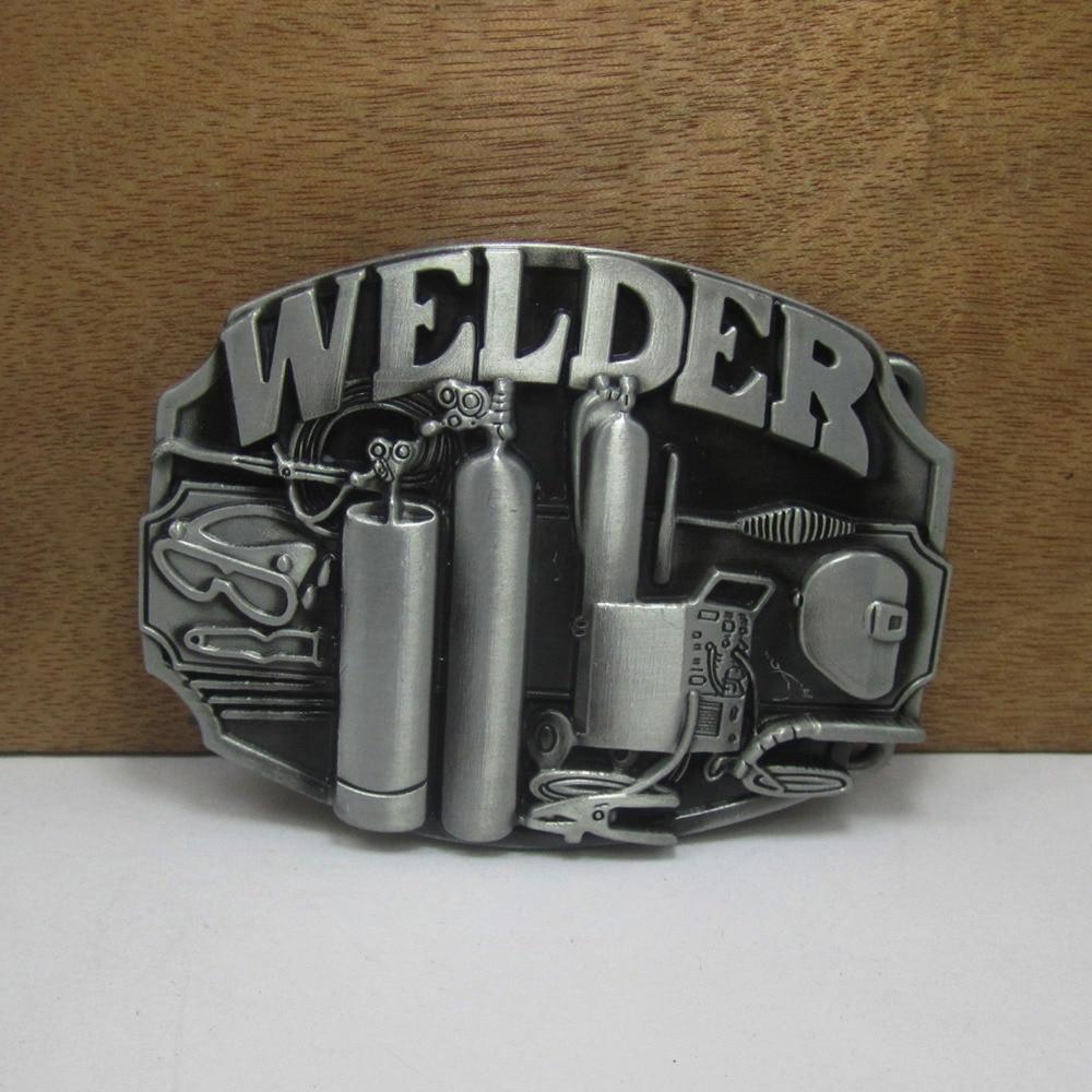 BuckleClub retro western welder jeans regalo cinturón hebilla FP-02228 acabado Peltre para hombres 4cm ancho loop drop shipping