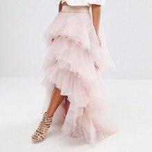 2018 mode haute basse femmes Tulle jupe rose clair femmes formelle fête jupe longue Tulle jupes volants Tutu jupe sur mesure