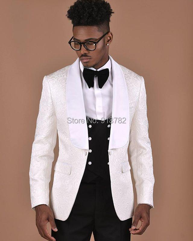 بدلة زفاف بيزلي من 3 قطع للرجال ، بدلة رسمية عصرية جديدة ، طقم معطف أبيض ، بدلة زفاف ، بدلة سهرة ، 2018
