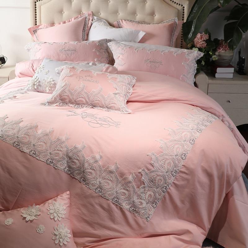 Juegos de cama reales de princesa de encaje de algodón egipcio de lujo, juego de cama de tamaño King para niñas, verde y rosa funda nórdica, juego de sábanas, regalos
