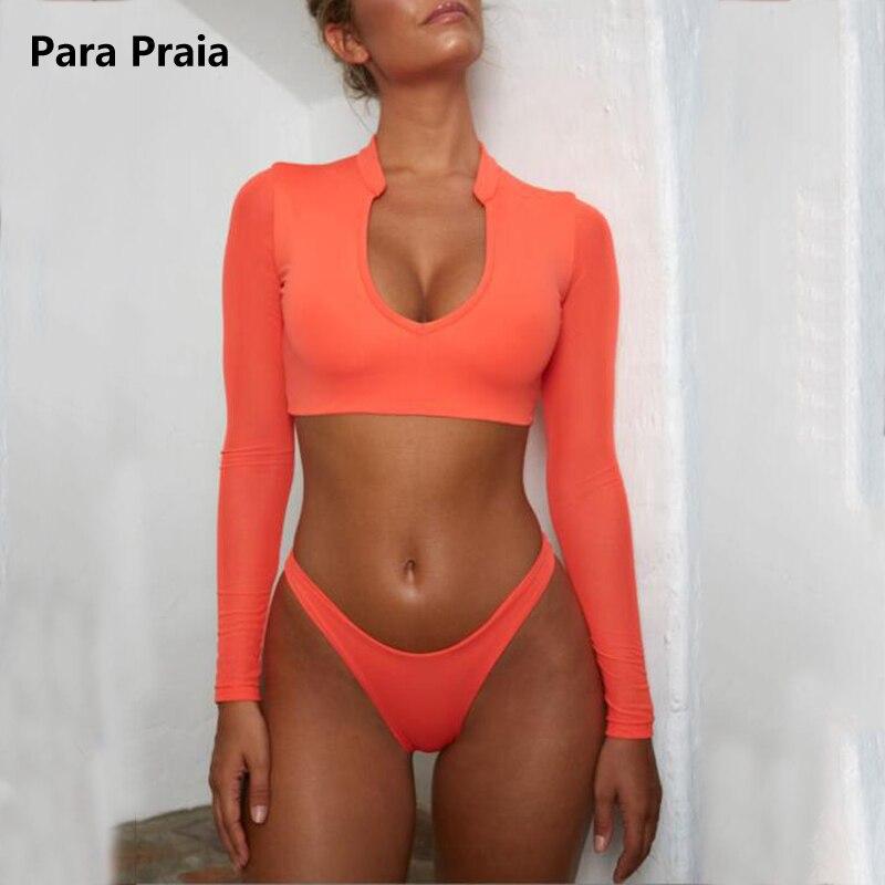 Maillot de bain à manches longues femmes string Bikini 2019 haut court Bikinis ensemble maillots de bain col bas Bandage maillot de bain Sexy brésilien Bikni
