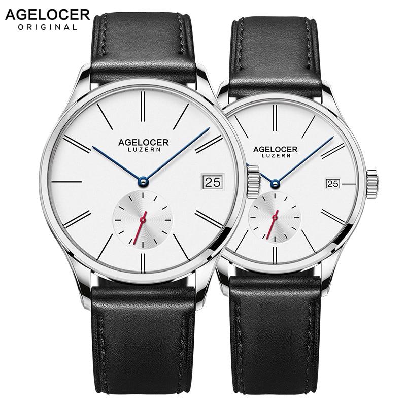 AGELOCER Swiss Men Mechanical Watches Couple Black Leather Watch Waterproof Clock Date Women Mens Wrist Watches