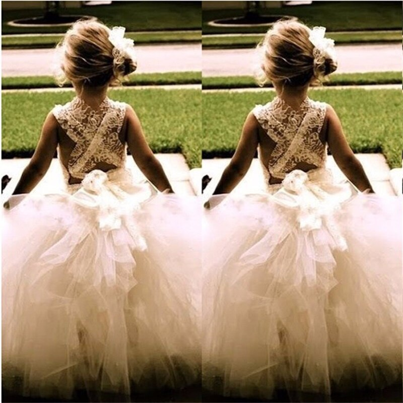 flower girls pageant dress kids wedding dresses for girl vestidos 2020 children lace white princess robe kid party evening gown Brand New Flower Girl Dresses Princess Ball Party Pageant Communion Dress for Wedding White/Ivory Girls Kids/Children Dress