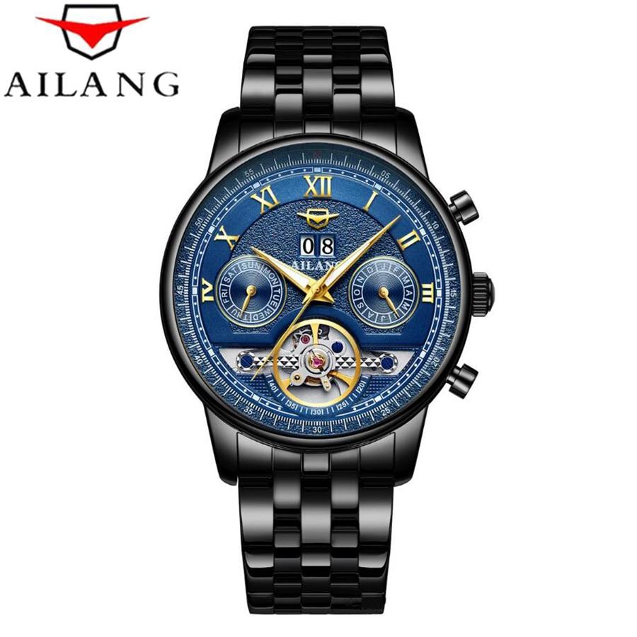 AILANG Tourbillon Automatic Mechanical Watch Men's Waterproof 50M Army Sport Watches Men Full Steel Luminous Clock Reloj Hombre