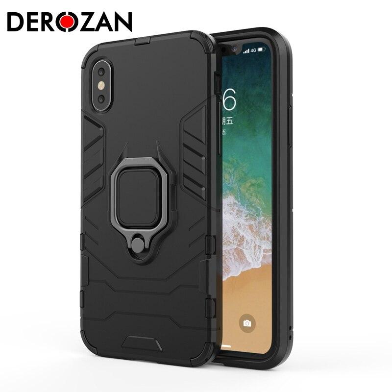 Funda DEROZAN para iPhone 7 X XS Max 6 6s 8 Plus SE 5 5S XR SE 2020 Hard PC + suave TPU antigolpes lujosa funda de negocios