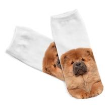 2019 New 3D Digital Printed Chow dog Women Socks Unisex Fashion Cute Short Sock Women Low Cut Dress