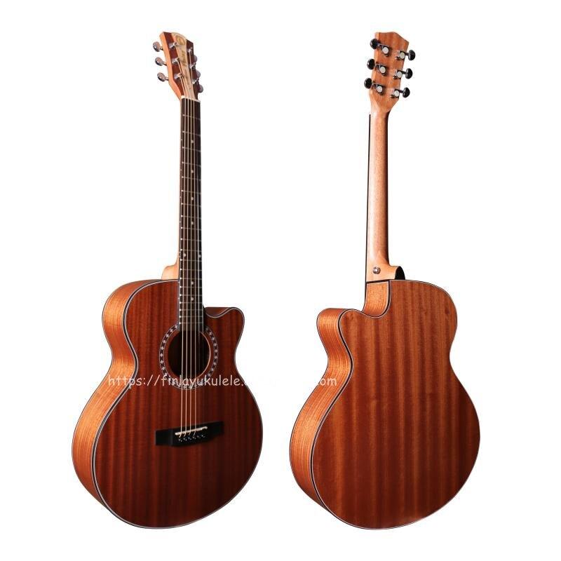 (Con video) guitarra acústica seccionada Finlay de 40 pulgadas con tapa/cuerpo completo de caoba, guitarra China nature matt