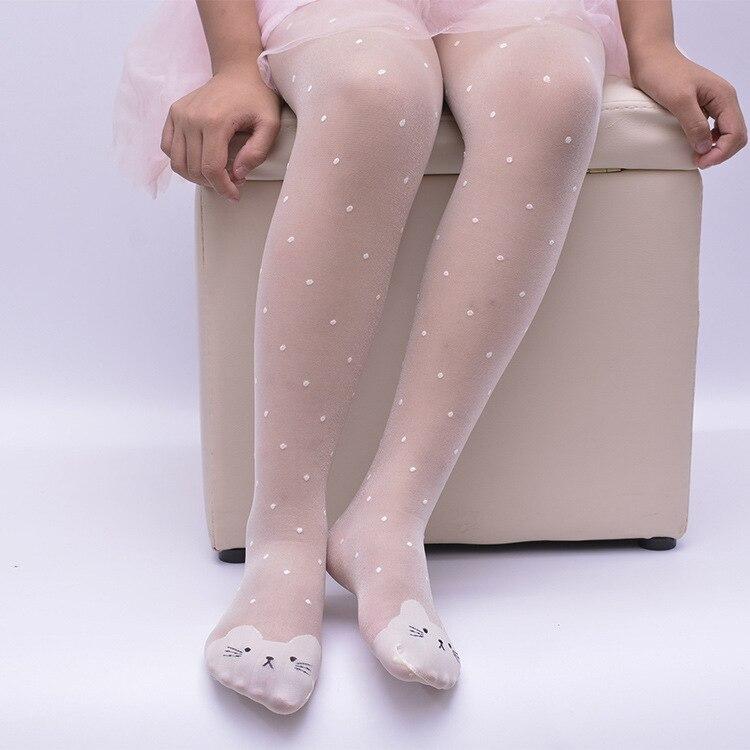 Nuevas medias de seda fina para niñas, de primavera y verano, medias de punto caramelo para bailar con gatos de dibujos animados, medias para niñas