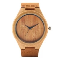 wood watch leather strap men watch brown color casual quartz bamboo wristwatch best gift for men and women