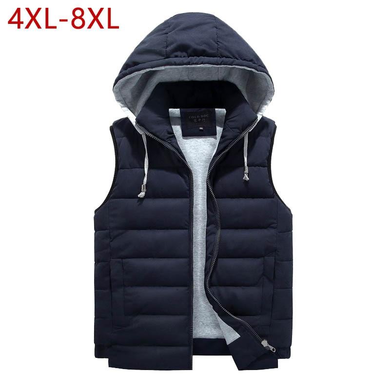 4XL-8XL de talla grande 2019 chaleco nuevo hombres moda invierno cálido de trabajo Casual chaleco con capucha cremallera chaqueta sin mangas 3ZWJ14