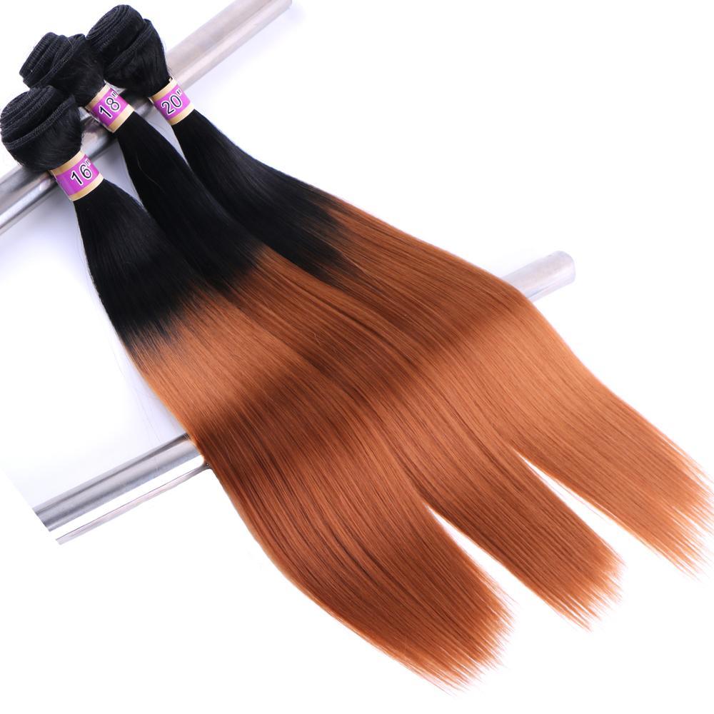 Dois tom ombre cabelo preto para marrom vermelho dourado resistente ao calor sintético hair2 peça um lote tecer cabelo